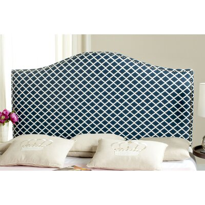 Little Deer Isle Upholstered Panel Headboard Size: Queen, Upholstery: Navy/White