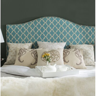 Little Deer Isle Upholstered Panel Headboard Size: Full, Upholstery: Blue/White