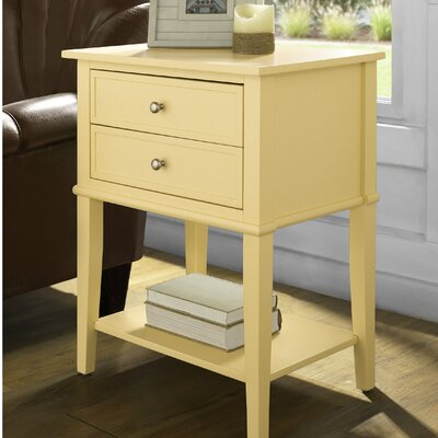Winfield End Table With Storage Color: Yellow