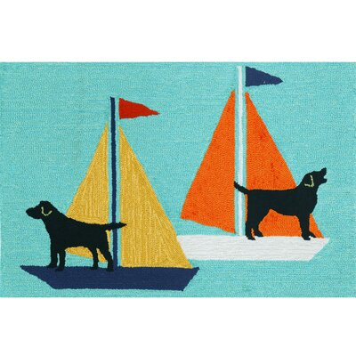 Walton Sailing Dog Hand-Tufted Blue Indoor/Outdoor Area Rug Rug Size: Rectangle 26 x 4