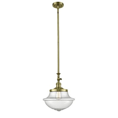 Draeger 1-Light Schoolhouse Pendant Finish: Antique Brass