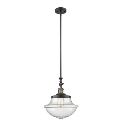 Draeger 1-Light Schoolhouse Pendant Finish: Black Antique Brass