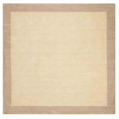 Archer Hand-Woven Wool Ivory/Beige Area Rug Rug Size: Square 6