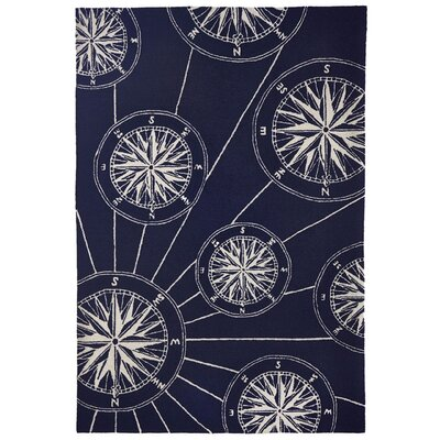 Shelborne Compass Hand-Tufted Indoor/Outdoor Navy Area Rug Rug Size: Rectangle 5 x 76