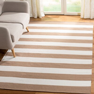 Sky Hand-Woven Sand/Ivory Area Rug Rug Size: Rectangle 4 x 6