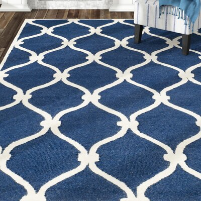 Leighton Wool Hand-Tufted Navy/Ivory Area Rug Rug Size: Rectangle 6 x 9