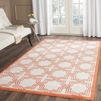 McArthur Ivory/Orange Area Rug Rug Size: Rectangle 3 x 5