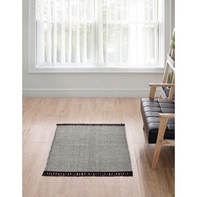 Feeley Solid Scatter Charcoal Area Rug Rug Size: Rectangle 30 x 46