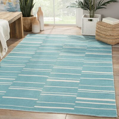 Taft Cotton Flat Weave Blue/White Area Rug Rug Size: Rectangle 5 x 8