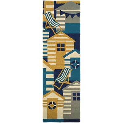 Seaside Beach Hut Blue/Brown Indoor/Outdoor Area Rug Rug Size: Runner 26 x 86