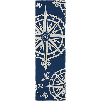 Beaufort Hand-Hooked Navy/Beige Indoor/Outdoor Area Rug Rug Size: Runner 26 x 86