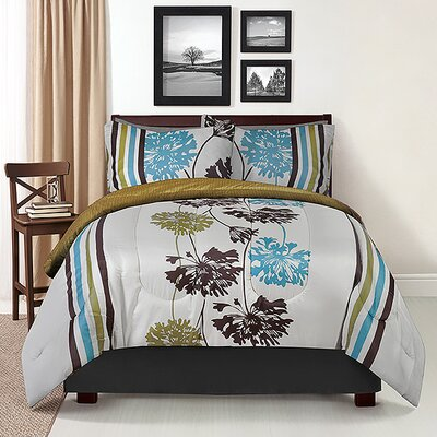4 Piece Full Reversible Comforter Set