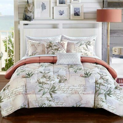 Flora 9 Piece Reversible Comforter Set Size: King