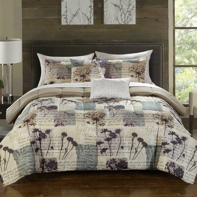 Hanna 9 Piece Reversible Comforter Set Size: Queen