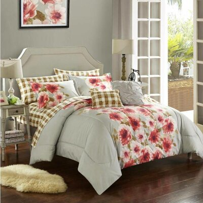 Georgina 9 Piece Reversible Comforter Set Size: Queen