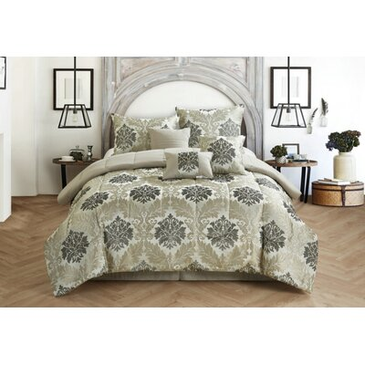 Victoria 7 Piece Reversible Comforter Set Size: King