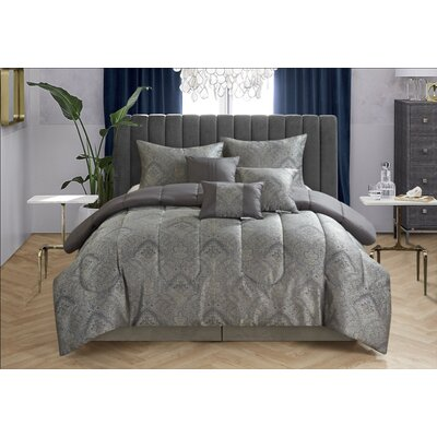 7 Piece Reversible Comforter Set Size: King