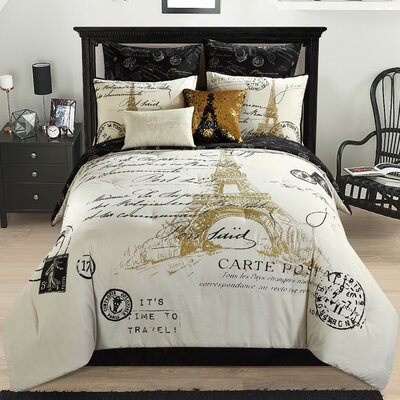 Maribelle Paris 8 Piece Reversible Comforter Set Size: Full