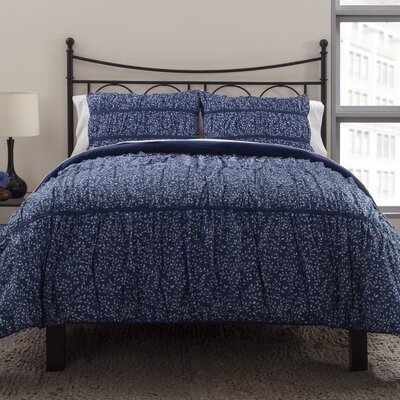 Ruched 3 Piece Duvet Cover Set Size: King, Color: Midnight Blue