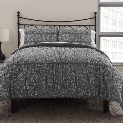 Ruched 3 Piece Duvet Cover Set Size: Full/Queen, Color: Graphite