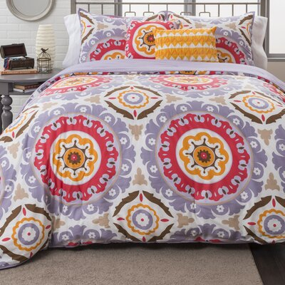 Raya Medallion Duvet Cover Set Size: Full/Queen