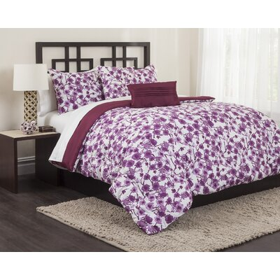 Sangria Vine 5 Piece Reversible Comforter Set Size: King
