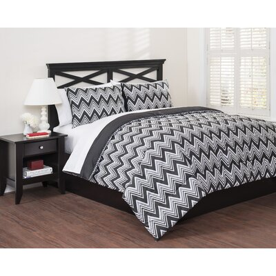 Zig Zag 3 Piece Reversible Duvet Cover Set Size: Full/Queen