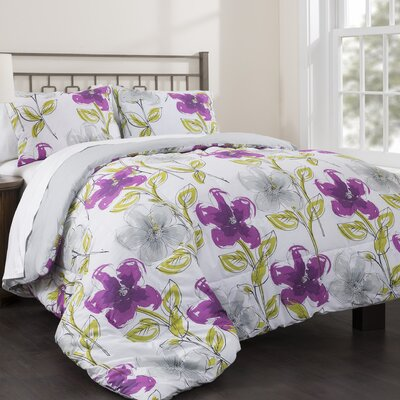 Jasmine Garden 3 Piece Reversible Duvet Set Size: King