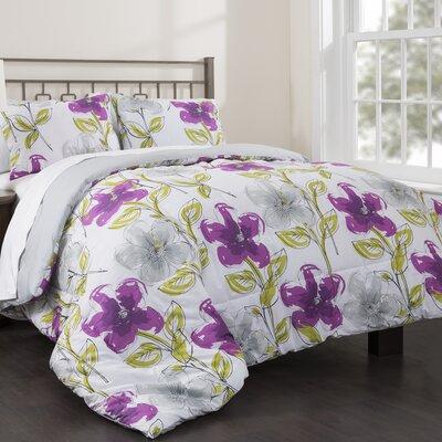 Jasmine Garden 3 Piece Reversible Comforter Set Size: Full/Queen
