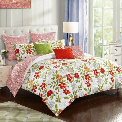 Floral 8 Piece Reversible Comforter Set Size: King