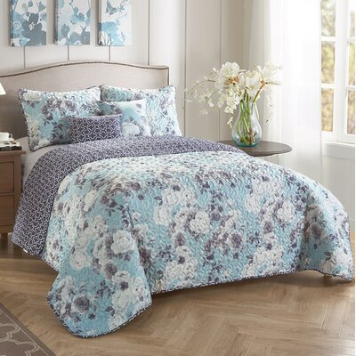 Liza 5 Piece Reversible Quilt Set Size: King