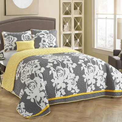 South Beach 5 Piece Reversible Quilt Set Size: Full