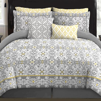 Allegra 9 Piece Reversible Comforter Set Size: Queen