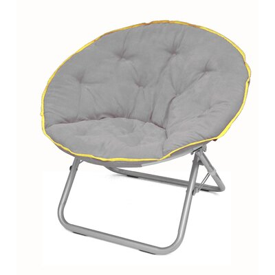 Plush Papasan Chair Color: Gray with Yellow Trim