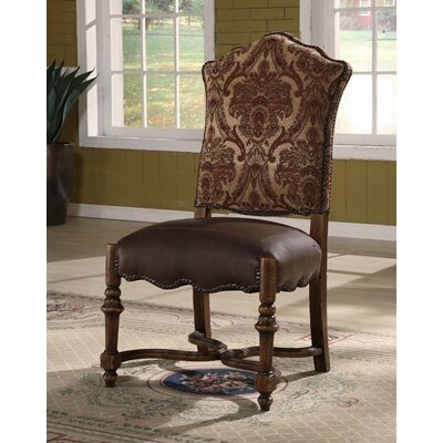 Burgundy Genuine Leather Upholstered Dining Chair
