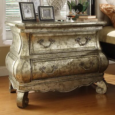 Liege 2 Drawer Nightstand Color: Silver