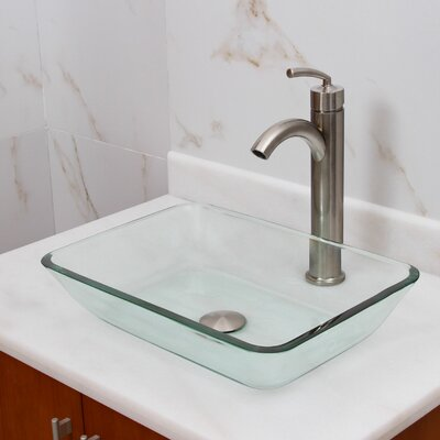 Elite Tempered Glass Rectangular Vessel Bathroom Sink Drain Finish: Brushed Nickel