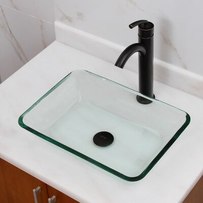 Elite Tempered Glass Rectangular Vessel Bathroom Sink Drain Finish: Oil Rubbed Bronze