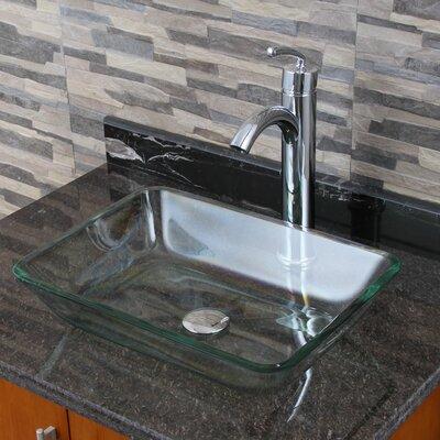 Elite Tempered Glass Rectangular Vessel Bathroom Sink Drain Finish: Chrome