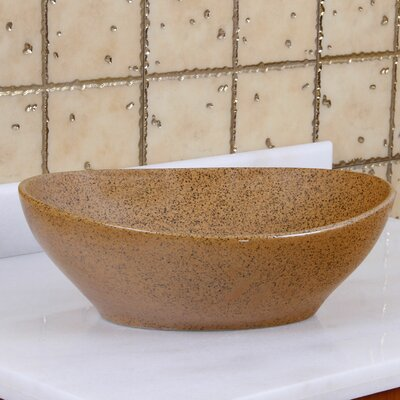 Elite Sandstone Porcelain Ceramic Oval Vessel Bathroom Sink