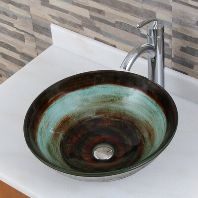 Elite Glass Circular Vessel Bathroom Sink Drain Finish: Chrome