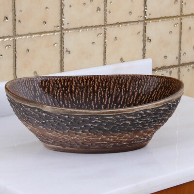 Elite Natural Rock and Painted Chestnut Porcelain Oval Vessel Bathroom Sink Drain Finish: Oil Rubbed Bronze