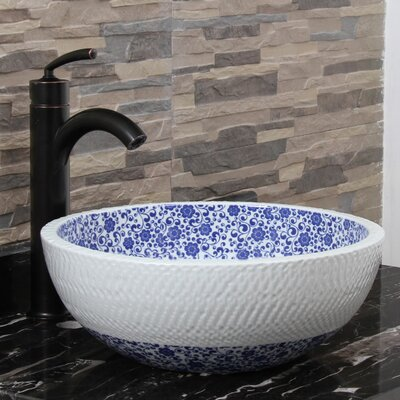 Ripple White Cherry Blossom Circular Vessel Bathroom Sink Drain Finish: Oil Rubbed Bronze