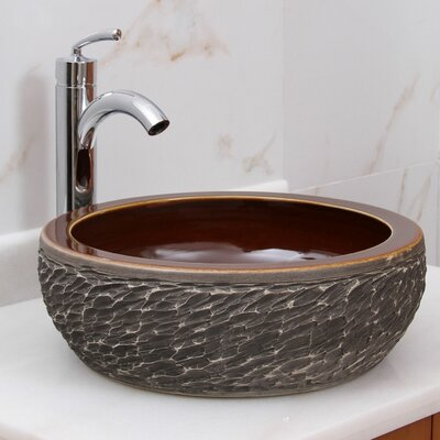 Natural Rock Circular Vessel Bathroom Sink Drain Finish: Chrome