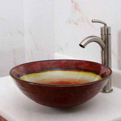 Elite Fiery Abyss Circular Vessel Bathroom Sink Drain Finish: Brushed Nickel