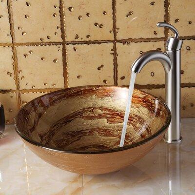Elite Glass Circular Vessel Bathroom Sink Drain Finish: Brushed Nickel