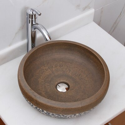 Floral Trim on Terra Porcelain Circular Vessel Bathroom Sink Drain Finish: Chrome