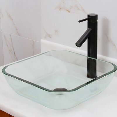 Elite Transparent Tempered Glass Square Vessel Bathroom Sink Drain Finish: Oil Rubbed Bronze