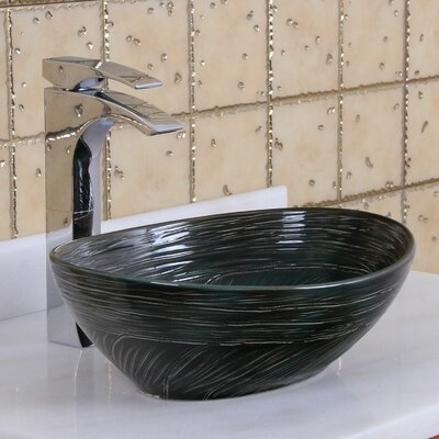 Elite Swirling Line Art Oval Vessel Bathroom Sink Drain Finish: Chrome