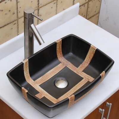 Elite Ceramic Rectangular Vessel Bathroom Sink Drain Finish: Brushed Nickel